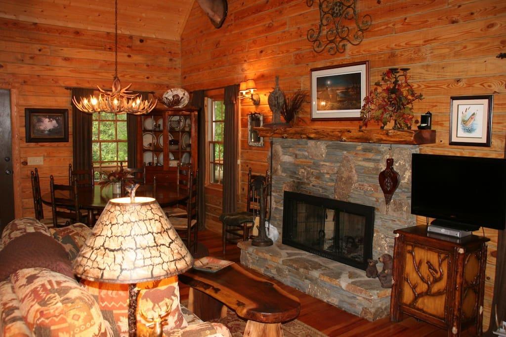 Main level wood burning fireplace