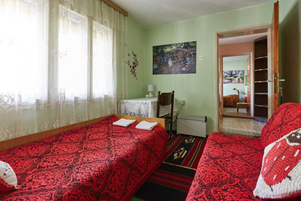 Garden view bedroom with traditional red covers and colorful handwover wool rugs
