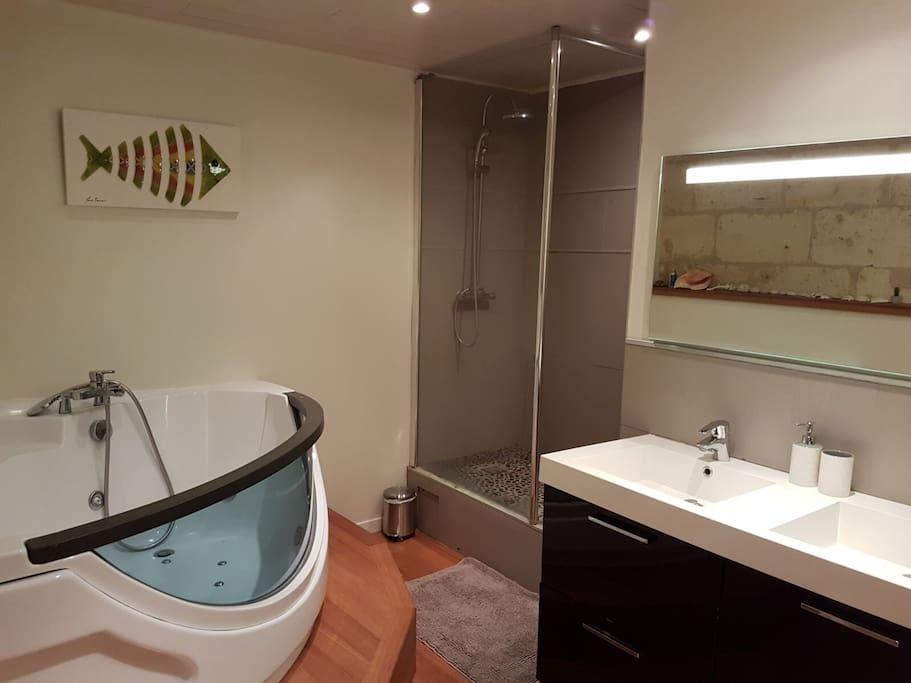 Salle de bain et douche située en des de jardin à côté de la chambre 1