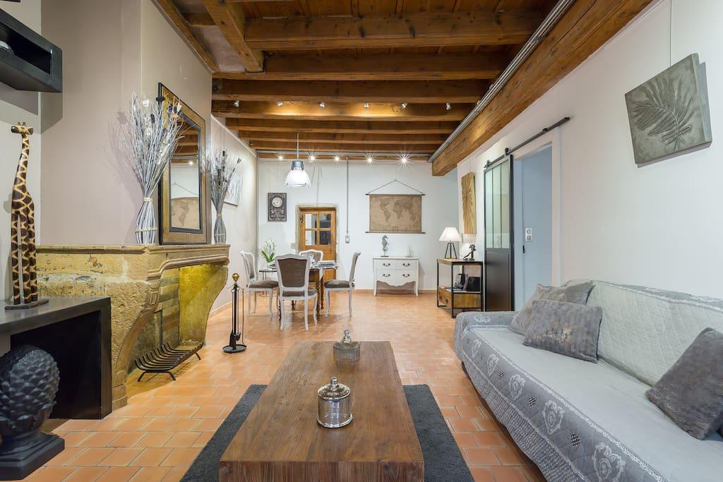 le loft de st jean 2 4 pers vieux lyon appartementen. Black Bedroom Furniture Sets. Home Design Ideas