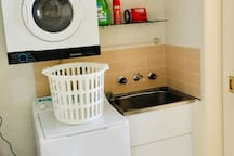 Full internal private laundry with washer, dryer, iron and ironing board - and second downstairs WC