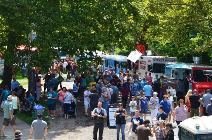 August 18 Gourmet Food Truck Competition at Veterans Park, just a couple of minutes down the road! 40 food trucks will be there!