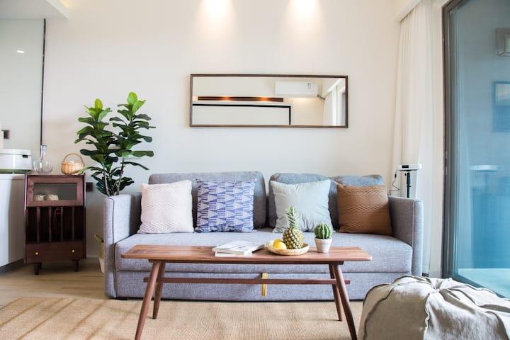 【SeaYoo】R9 汕尾保利亲海公寓 希尔顿旁 海景巨幕投影日式家庭房