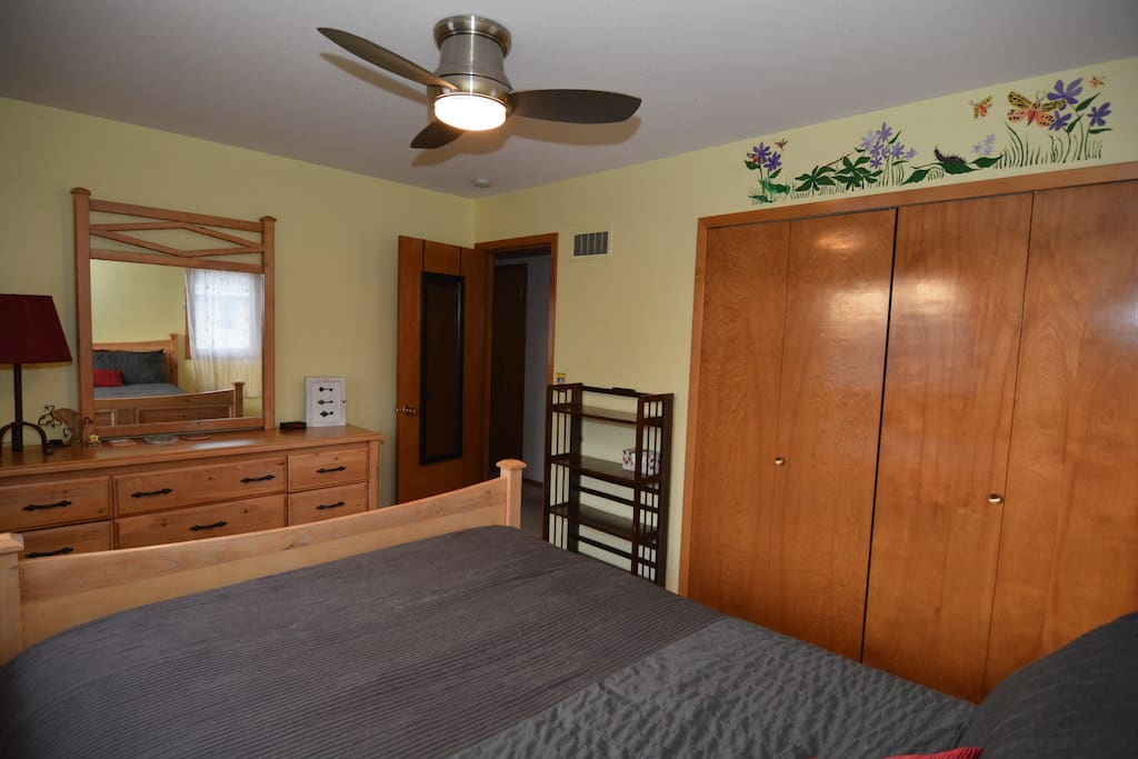 A dresser and closet are available to put away any belongings.
