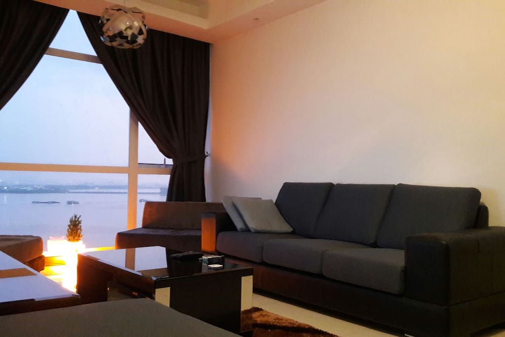 A breath taking sea view during sunset in the comfort of our living area.