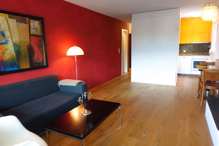Cozy studio right next to the valley station - Laax - Apartemen
