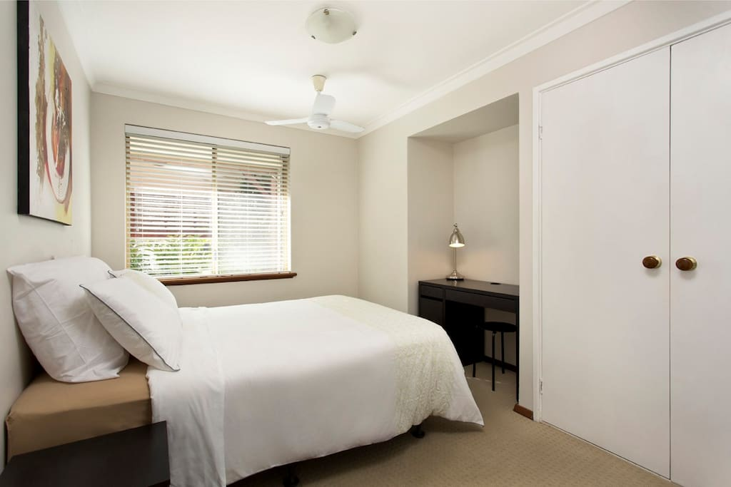 Bedroom5 Pool view room will be allocated when there are 1 or 2 guests. It has a double bed, electric blanket, wardrobe, ac and ceiling fan
