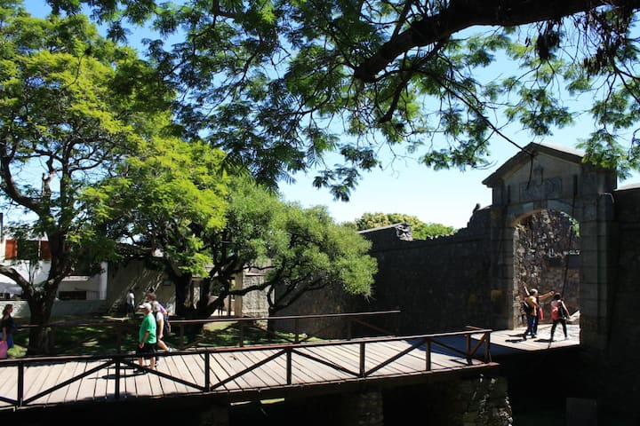 Drawbridge gate to historical village