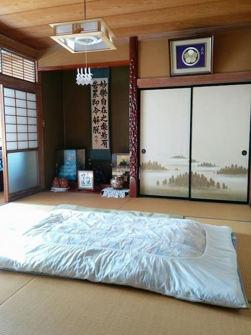 Authentic style room and bed of Japan. Room photo no.1