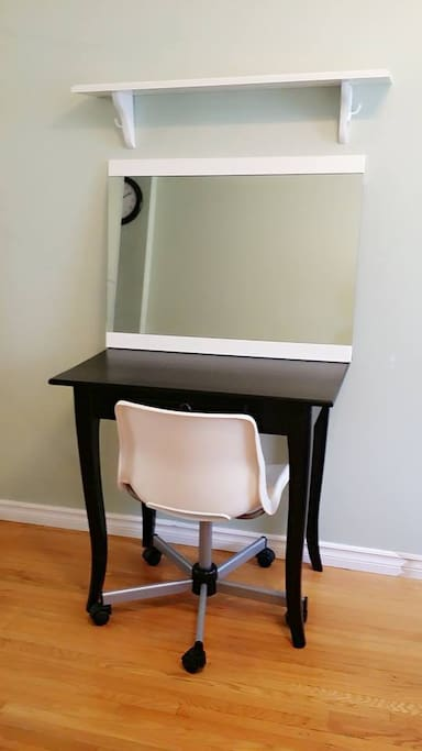 Make up station or work area (mirror is removable)
