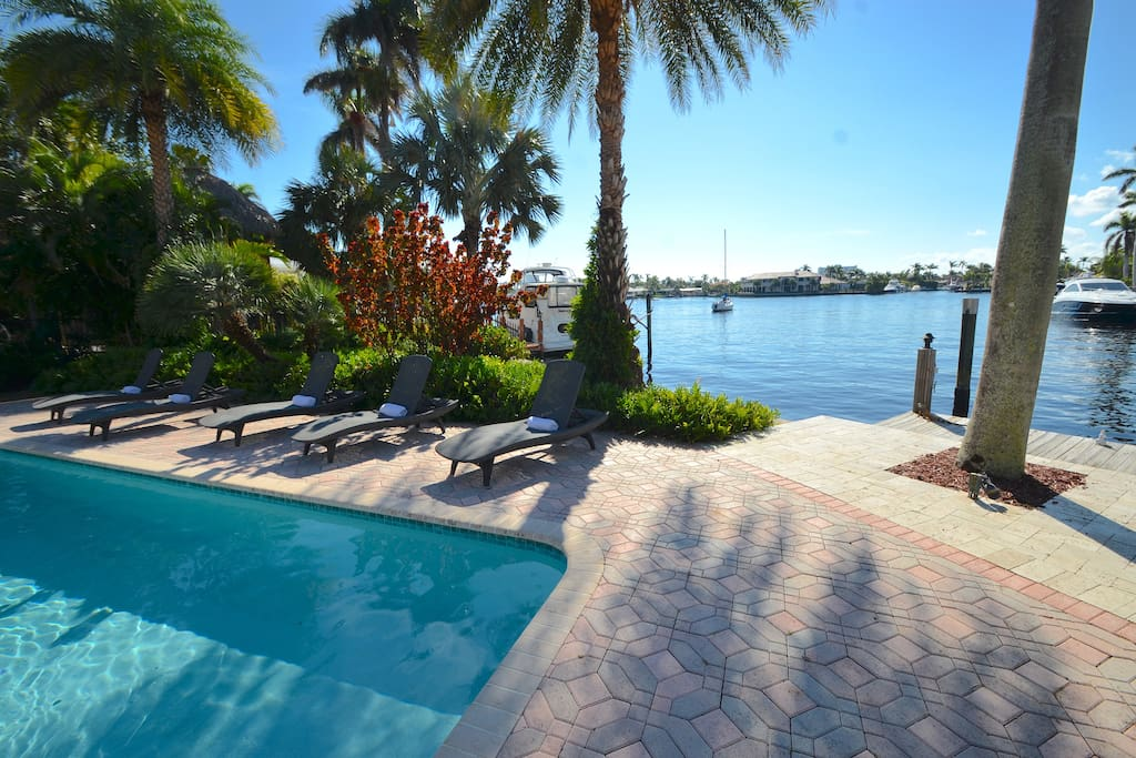 Breathtaking Private Heated Pool Resort Lounge Features Unobstructed Waterfront Views + Chaise Lounges + Dining + BBQ + Bar Lounge Areas...