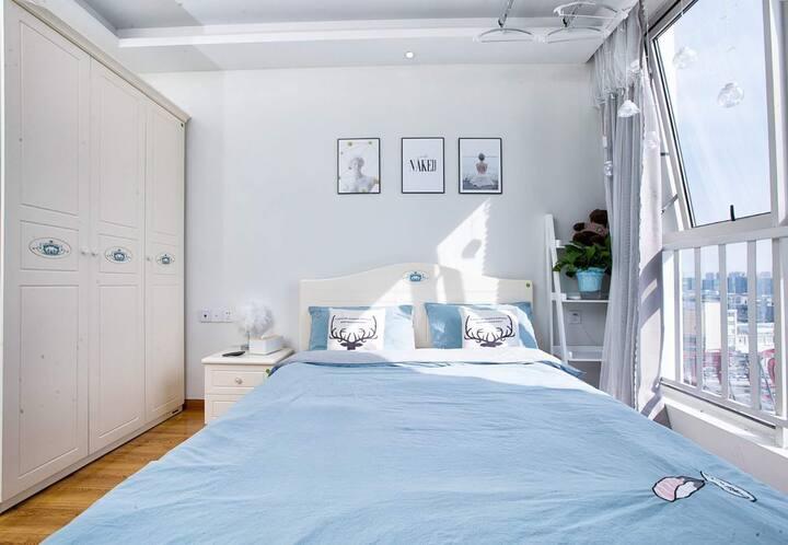 《采蓝》小清新风格万达公寓阳光房瘦西湖,东关街15分钟