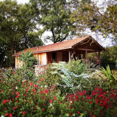 Wood cabin with stove and jacuzzi near St Antonin