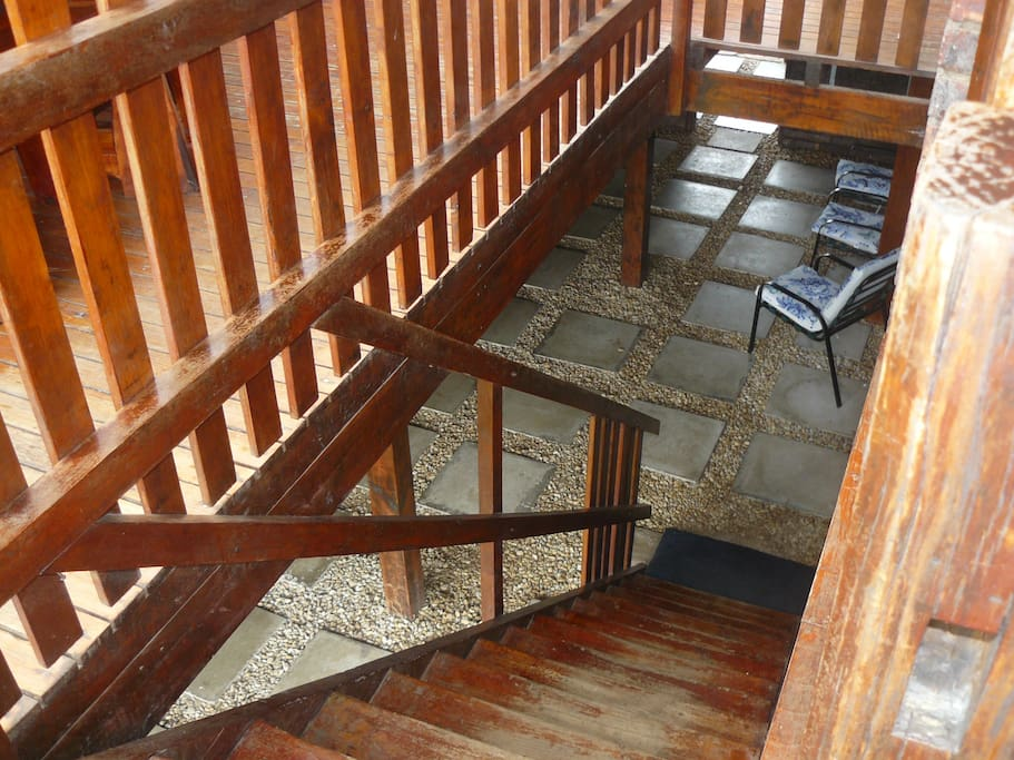 Stair case that leads up to cottage 4