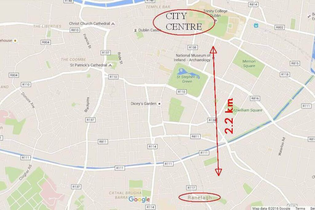Distance from Ranelagh to Dublin centre
