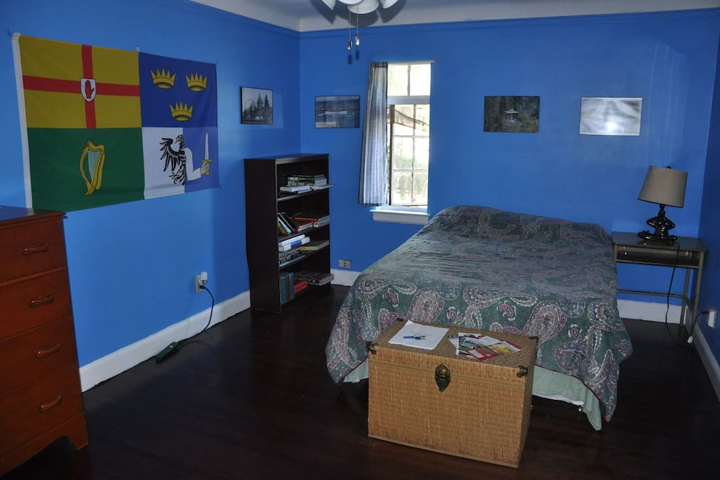 The Blue Room, showing the full-sized bed and furnishings.