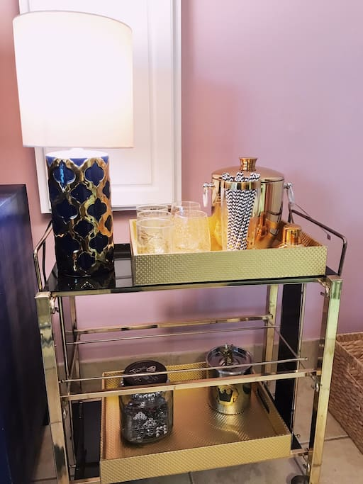 Bar cart in living room.