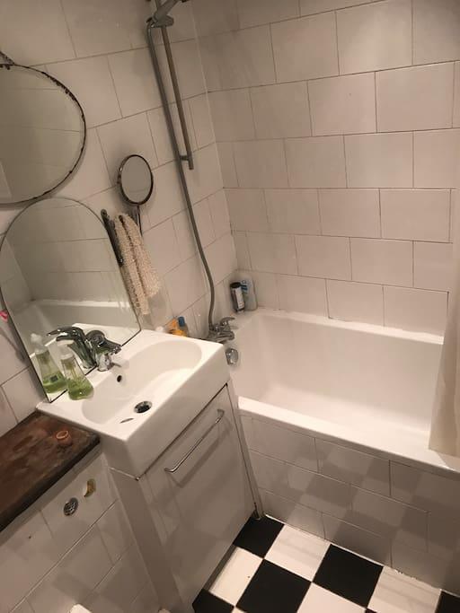 Nice bathtub and shower