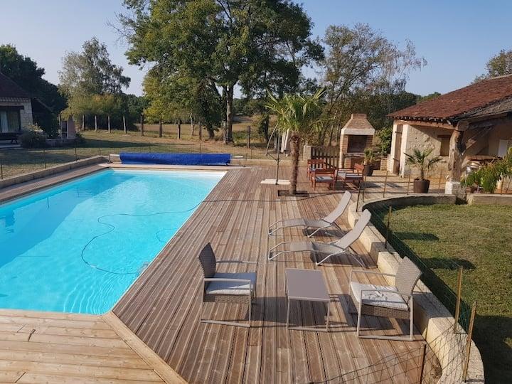 La Napperie, grande maison de campagne et piscine