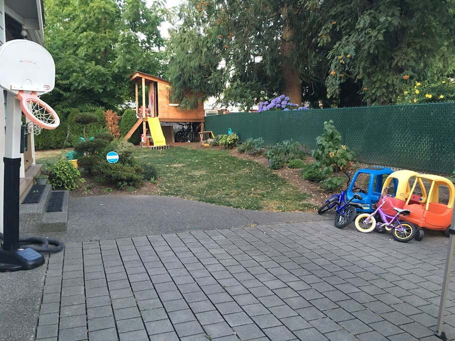 Lots of play space in the yard and the driveway ( plenty of space to park multiple cars and still have room to play!)