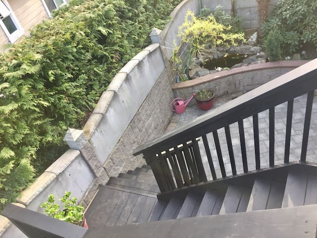 Stairs to and from your suite