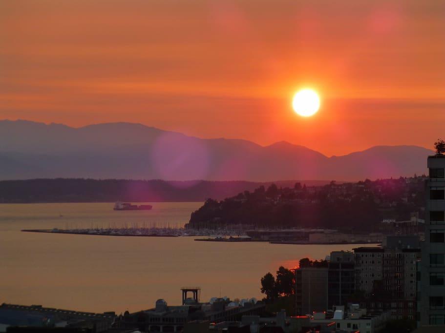 Summer sunset  view