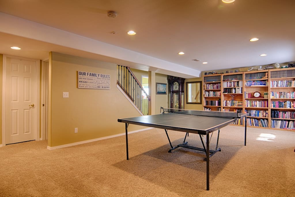 Large, open basement area with TV, books and games