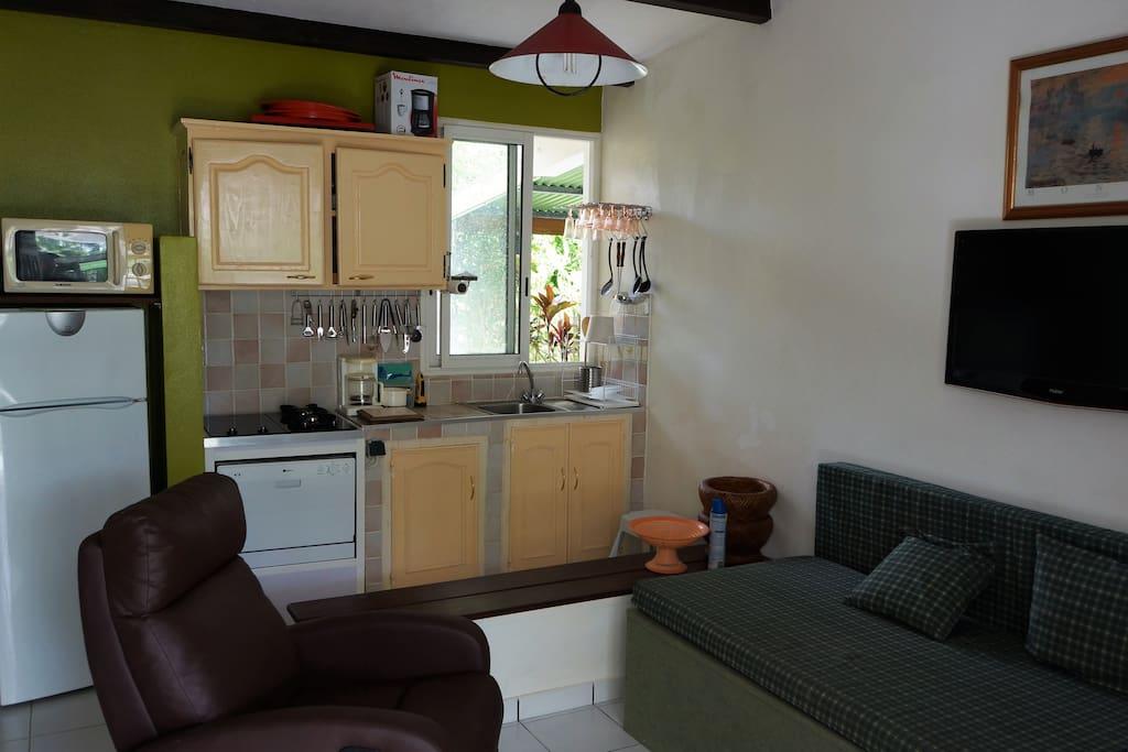Kitchenette bien équipée, espace télé avec 2 fauteuils