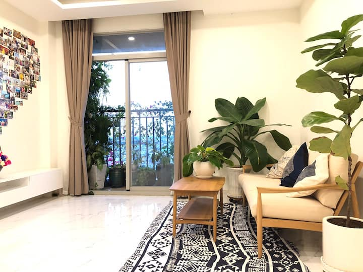 Clean room with lovely garden
