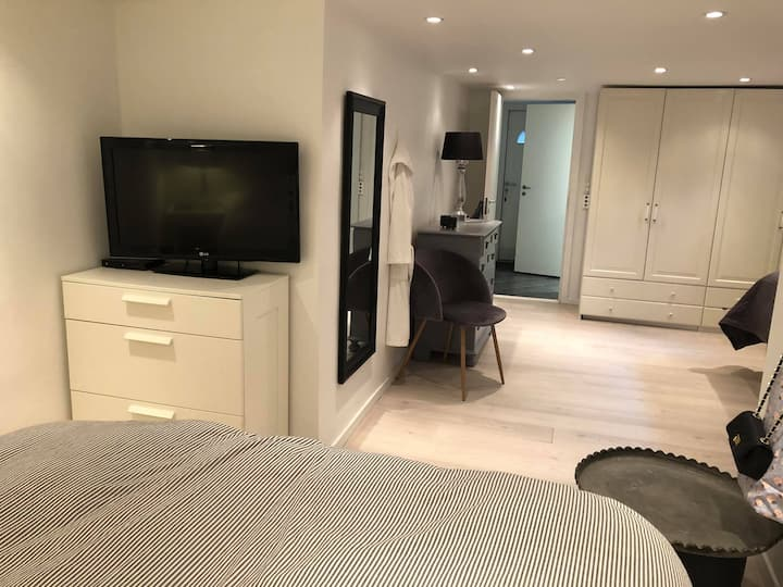 Stort værelse med eget bad og thekøkken.