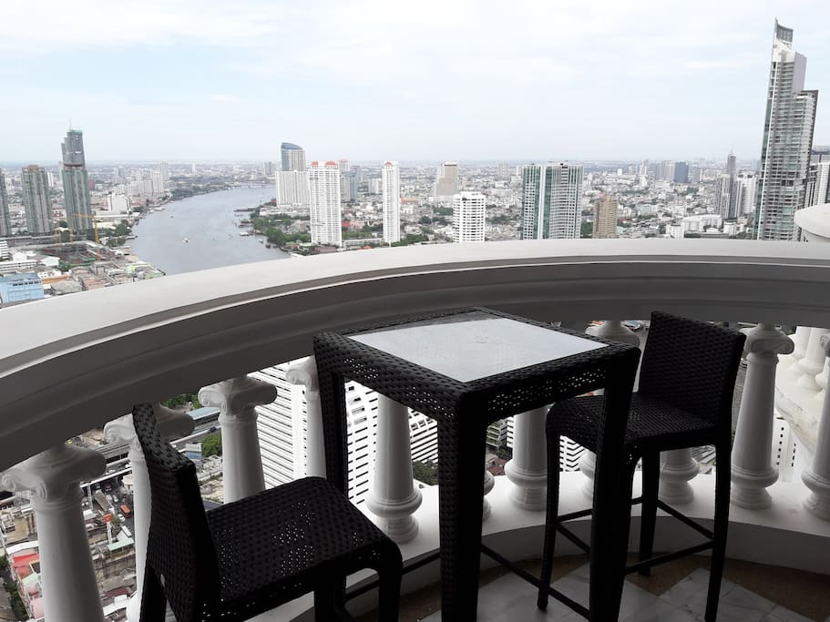 Balcony table set and view