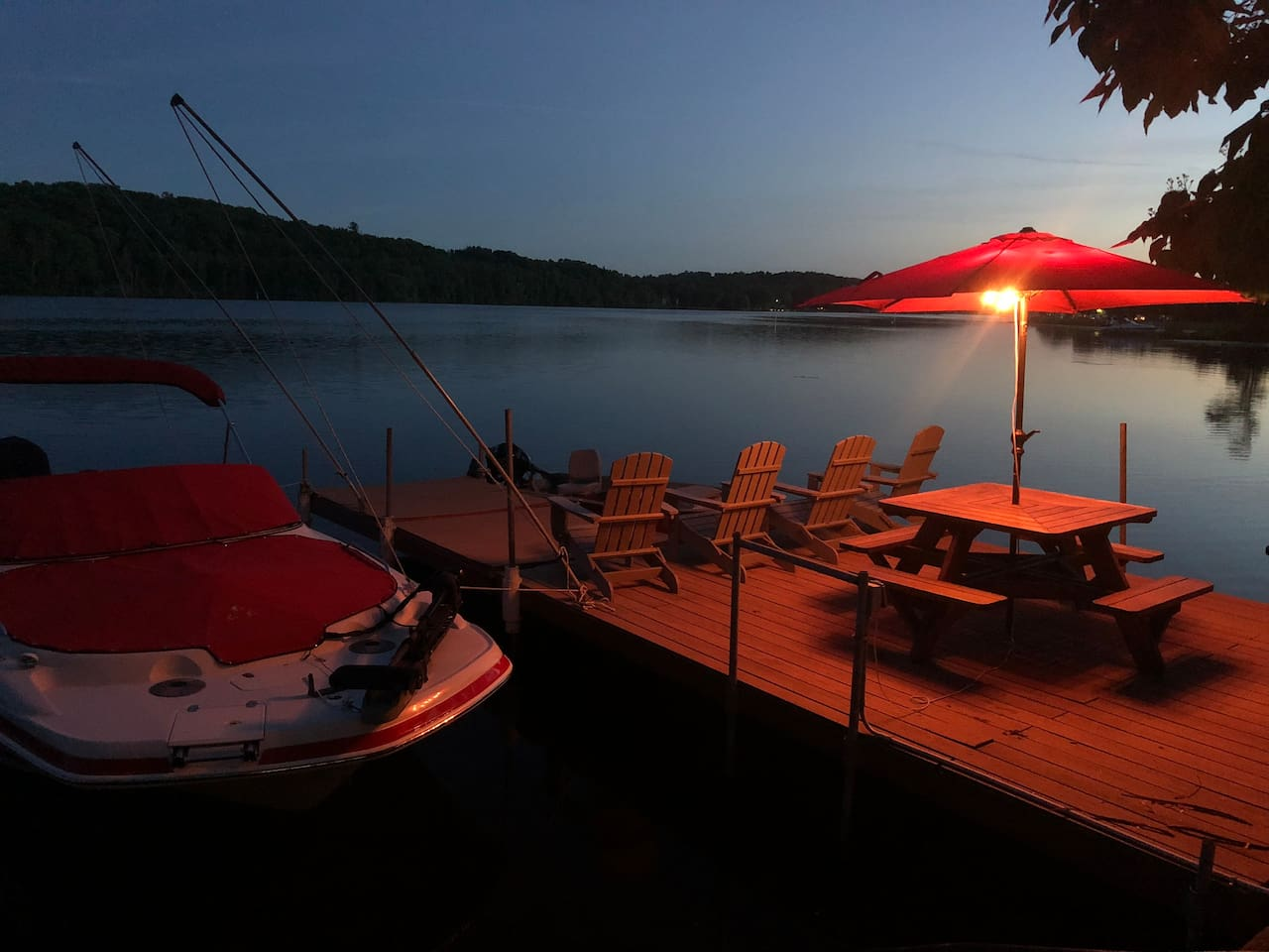 Relax on the expansive dock with panoramic sunrises and sunsets.