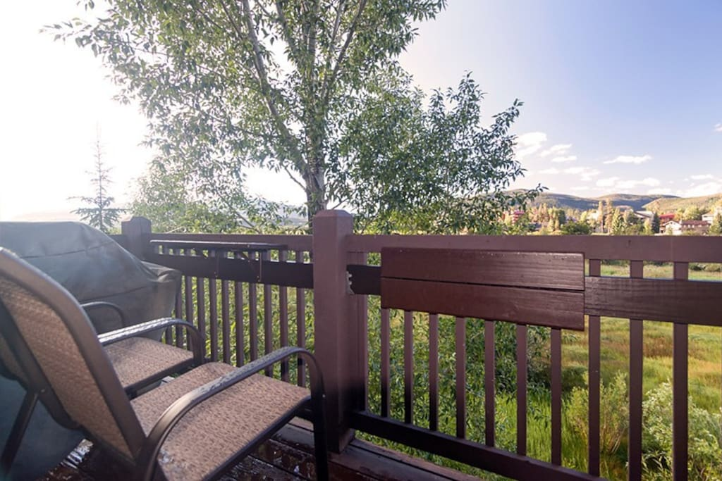 Full view of the Colorado mountains from the balcony (with gas grill)!