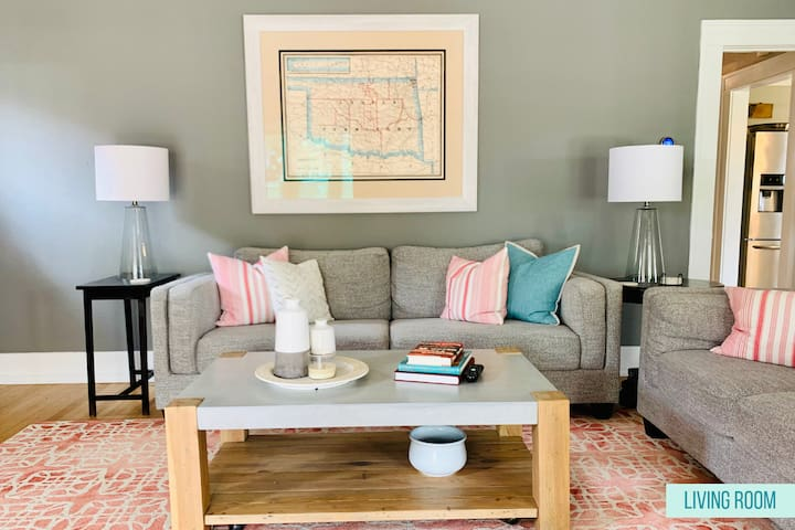 We love Oklahoma, and have filled the house with items that remind us of the state. Over the couch, for instance, you'll find a large map of the Oklahoma Indian Territory. It's a centerpiece for the comfortable living room.