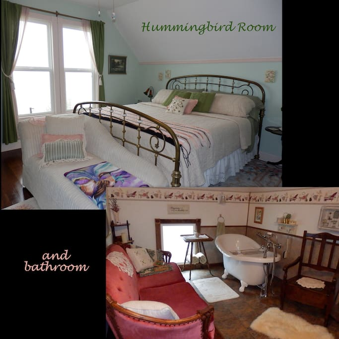 Hummingbird Room has a king size bed and views of the river