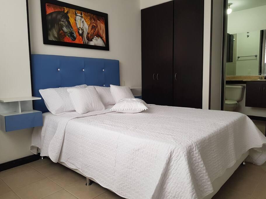 Amplia habitación principal con baño privado, aire acondicionado y dos clósets