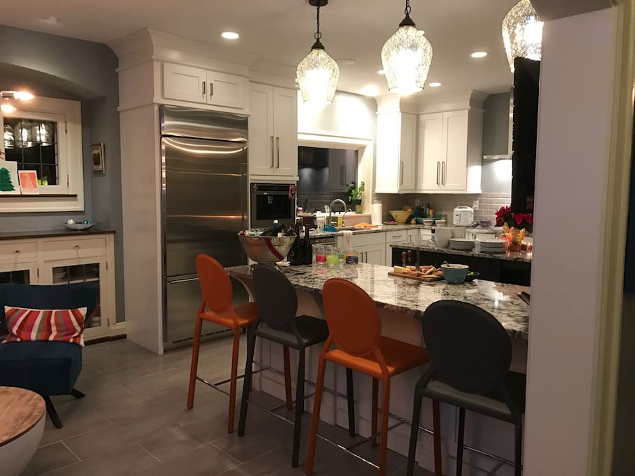 This is a newly remodeled kitchen. It is designed to enjoy and relax while being with your friends and family.