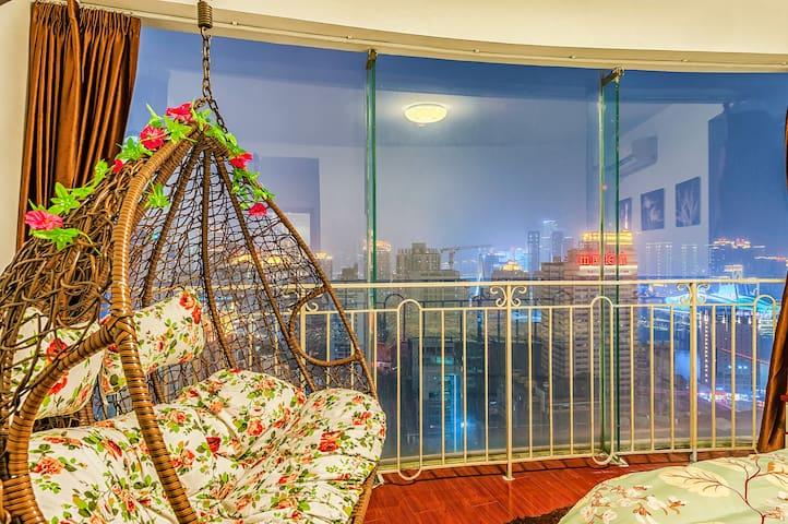 朝天门码头观解放碑夜景码头江景两室套房 - Chongqing - Apartment