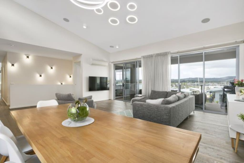 Admire the unique LED lighting not seen before in Australia and the magnificent views from the main living