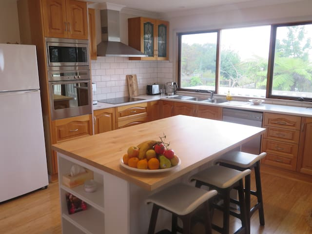 North facing kitchen with gorgeous views of Gippsland's green hills
