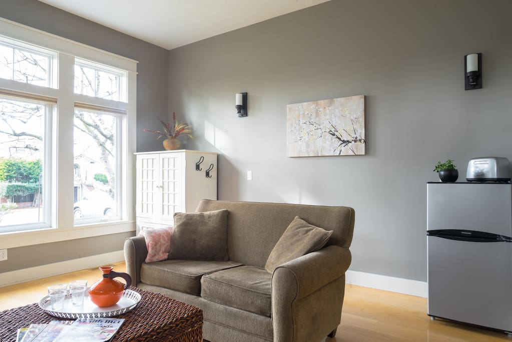 Living room with cable TV in cabinet