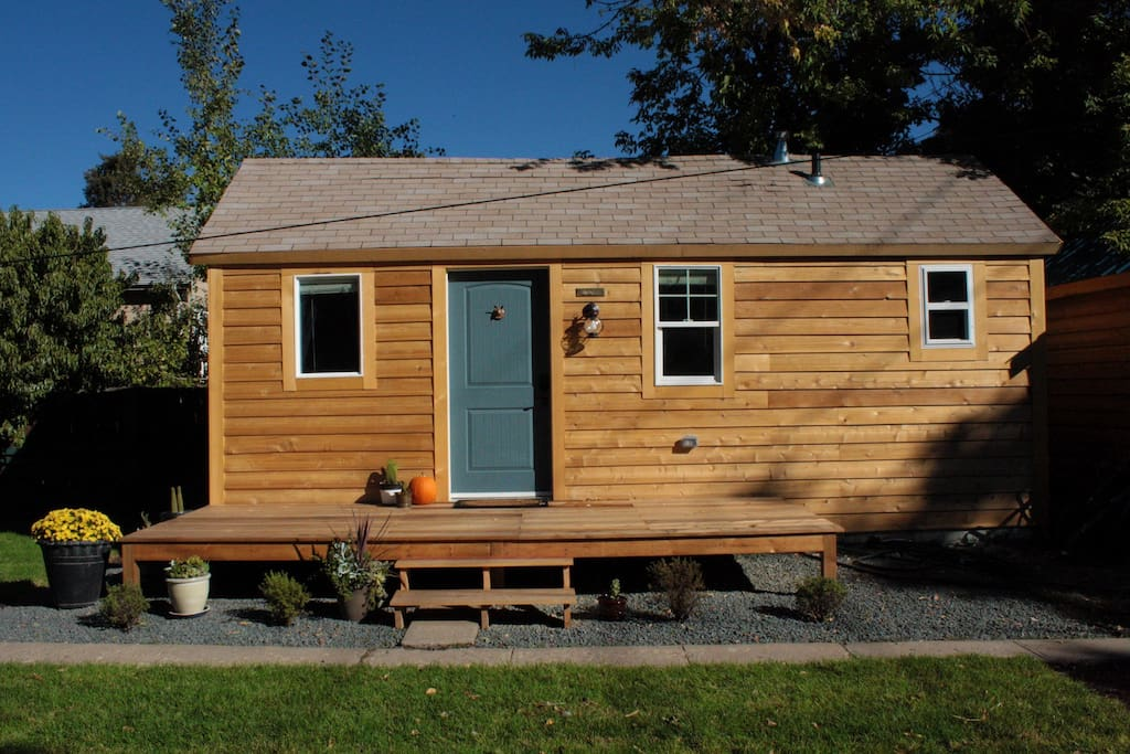This is the Brass Rabbit carriage house you will be staying in. It is located in our backyard.