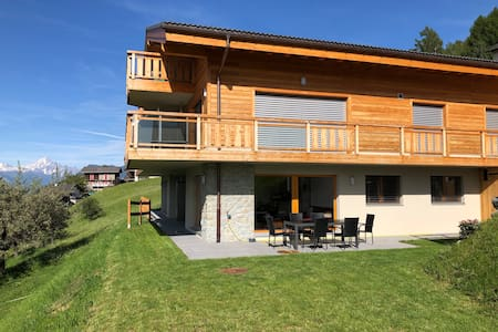 Nax: modern family apartment panoramic view Alps