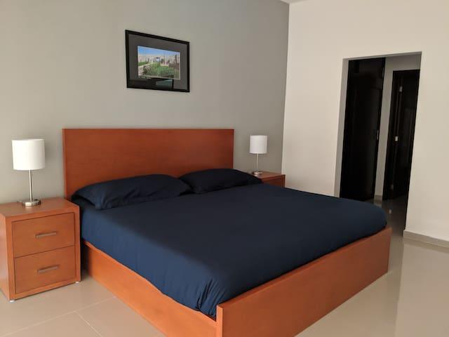 Recamara Master con baño y vestidor, equipada con una muy confortable cama King Size con colchón  y almohadas de memory foam ideales para un descanso total.