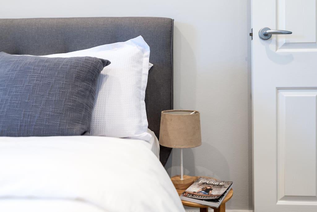 Luxurious bedding in Master Bedroom