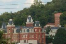 View of wood burn hall from our living room window, zoomed in!