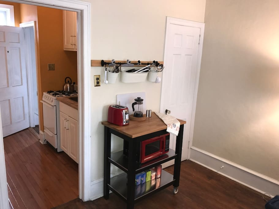 Pots, pans, microwave, toaster 4 burner gas range with oven, small refrigerator. Come home to a good meal!