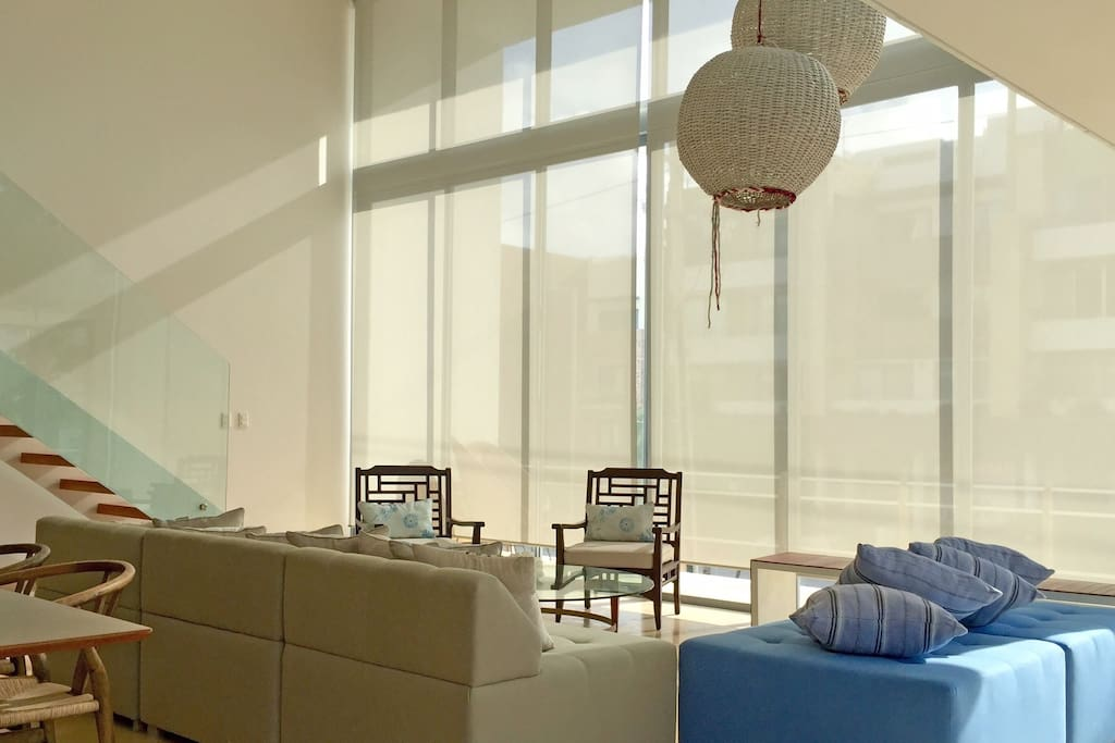 double height living room area