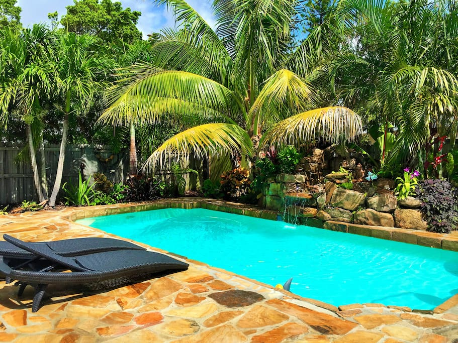 Private pool, waterfall all within an easy stroll to the beach