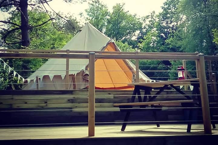 Bell Tent on Terrace with Lake View